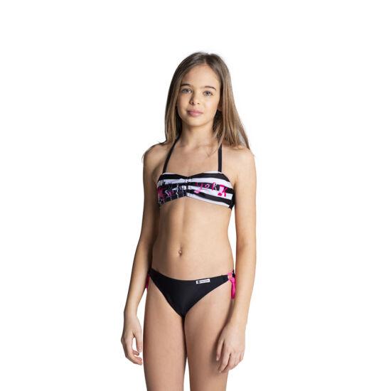 Fekete-fehér csíkos cső toppos bikini