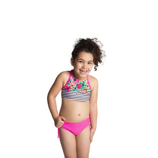 Csíkos-élénk színű virágos magasított bikini