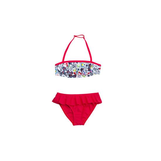 Piros loknis bikini vidám nyári mintával