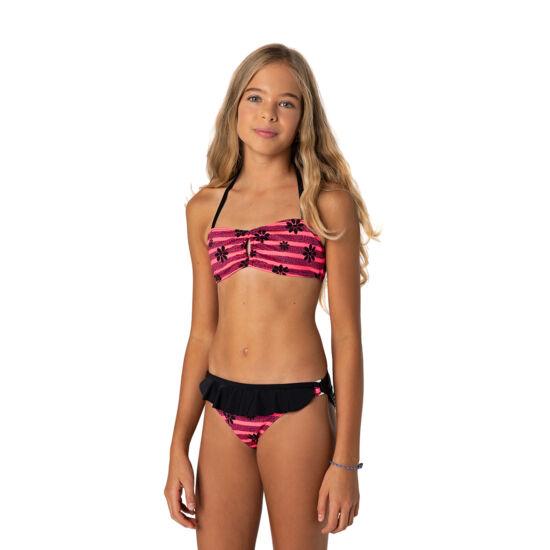Pink alapon fekete apró virágmintás csőtoppos bikini