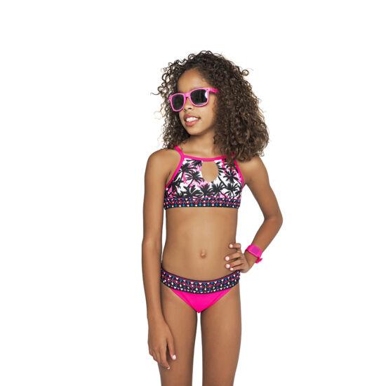 Magasnyakú pink pálmafás bikini