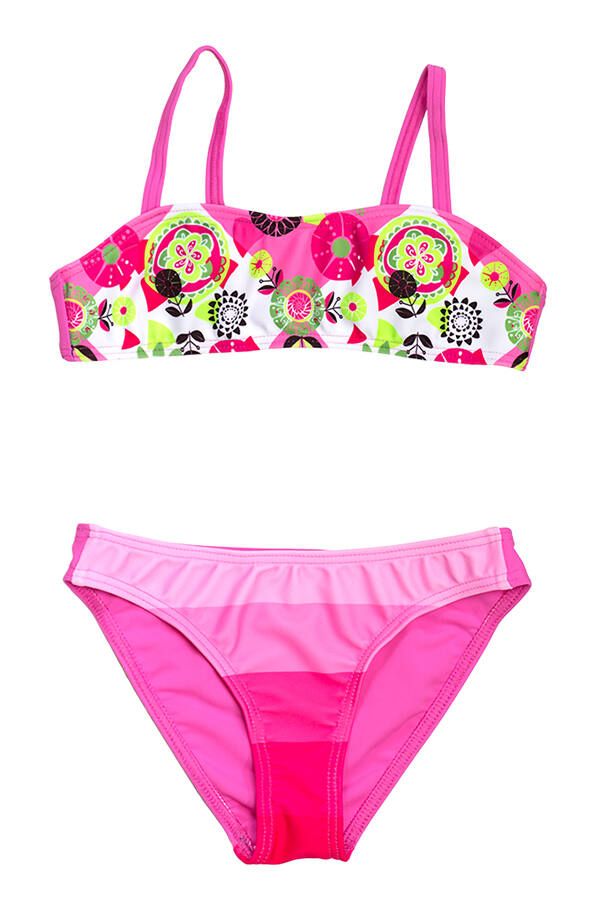 Rózsaszín mintás bikini csíkos bugyival 0d57294245