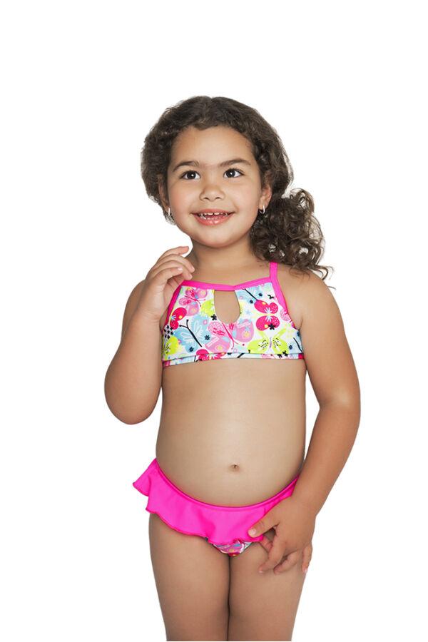 6dad17b120 Pink-lepkés magasnyakú mini bikini - Bikini - Gyermek fürdőruhák ...