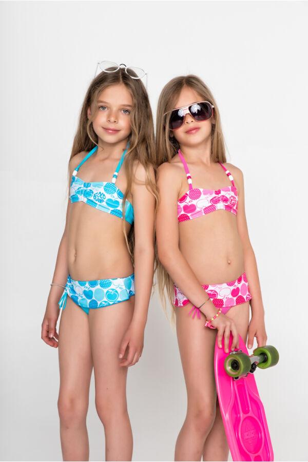 798e37a0b Kék almás és pöttyös mintájú bikini